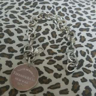 Tiffany & Co. Round Tag Chain Bracelet 925 Sterling Silver Authentic