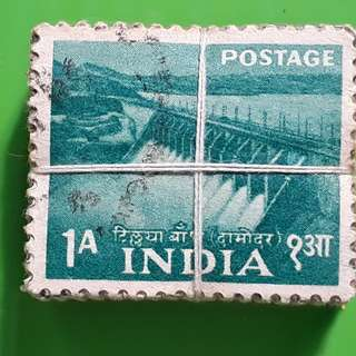 100 X india Definitive Vintage Stamps ( 1 BUNDLE ) - 1955 - Tilaiya Dam (D.V.C.) - 1 Anna - ALL THE STAMPS ARE NICELY PACKED in bundle, (1 bundle = 100 stamps )