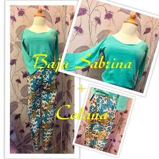 Blus sabrina + celana panjang