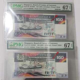 D-2 999999•1OOOOOO PMG 67 superb Gem UNC