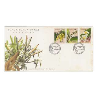 Malaysia 2001 Malaysia 2001 SCENTED FLOWERS OF MALAYSIA FDC SG #1005-1007 (toning found on cover)