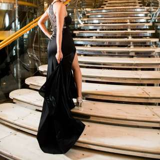 Black halter evening gown