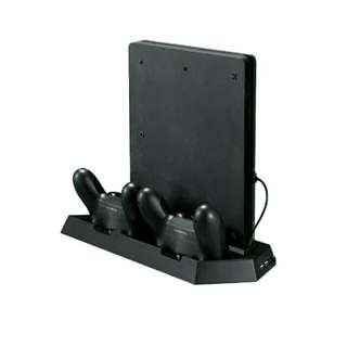 PS4 Slim Vertical Stand Cooling Fan with Charging Station
