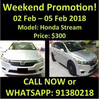 Weekend Promotion 2-5 Feb Honda Stream