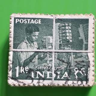 100 X india Definitive Vintage Stamps ( 1 BUNDLE ) - 1955 - Indian Telephone Industries - 1 Rupee - ALL THE STAMPS ARE NICELY PACKED in bundle, (1 bundle = 100 stamps )