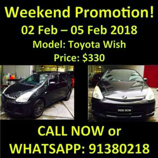 Weekend Promotion 2-5 Feb Toyota Wish