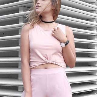 Pink cropped top with front knot