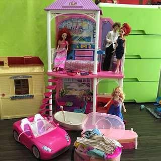 Barbie dolls / house / car / clothes