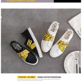 Korean Ulzzang: OFF WHITE Cross Buckle Front Lace Detailed Canvas Denim Casual Shoes