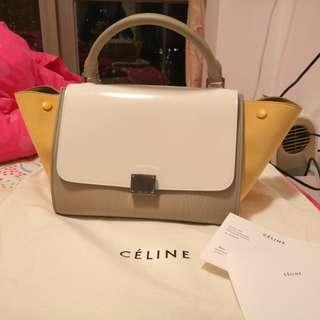 Celine Tricolor Musturd White small