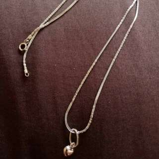 White gold necklace heart pendant