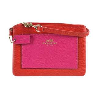 🈹Coach BiColor CrossGrain Leather Small Wristlet Cardinal/Pink Ruby