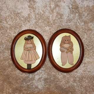 Framed cabbage patch dolls