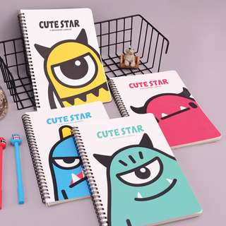 Cute Star Alien Closeup Spiral Ruled Notebook B5