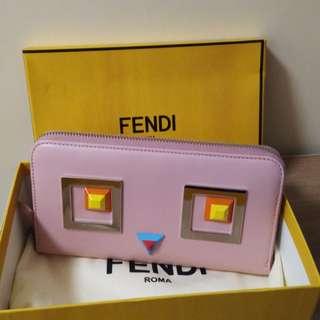 全新真品 Fendi 粉紅色拉鏈長銀包