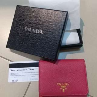 Prada 3-fold Peony-coloured wallet