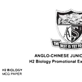 H2 Biology Promo exam papers