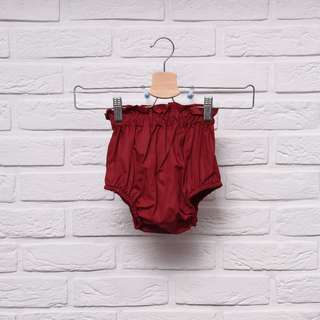 Girl's Nappy Shorts in Maroon