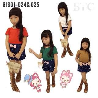 [READY STOCK]  🌸 Girls Cross Stripe Blouse 🌸 Girls Ribbon Short Pants