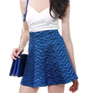 MDS BNWT Reena Skater Skirt in Blue