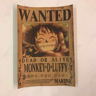 Sale 👯BN Monkey D Luffy Dead or Alive poster 40x30cm