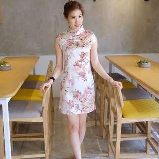 Pink Flower Cheongsam Qipao