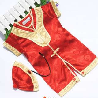 CNY Baby tang romper set [9 months to 10 months]