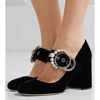 New Miu Miu velvet black heels sz37