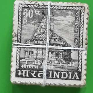 100 X india Definitive Vintage Stamps ( 1 BUNDLE ) - 1967 - 60p Somnath Temple, Gujarat - ALL THE STAMPS ARE NICELY PACKED in bundle, (1 bundle = 100 stamps )