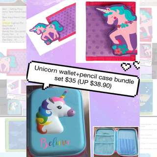 Unicorn wallet and pencil case