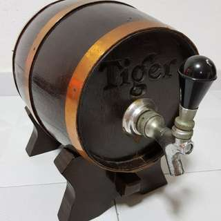 Tiger beer barrel with dispenser tap