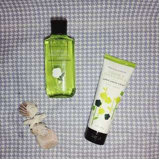Bath and Body jasmine and green apple shower gel and body cream