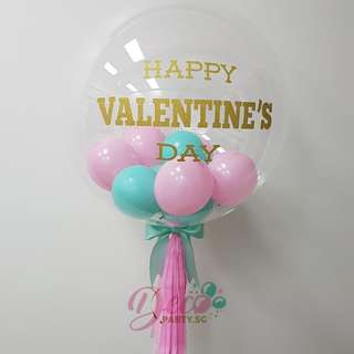 """Valentines Day Early Bird Order Discount 24"""" Customized Deco Clear Helium Balloon"""
