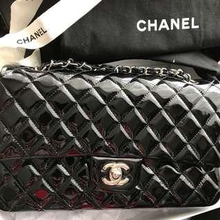 💫有香港專門店單💫 Chanel classic double flap 2.55 黑色漆皮