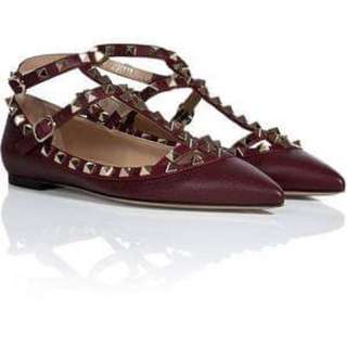 VALENTINO burgundy patent leather rockstud flats