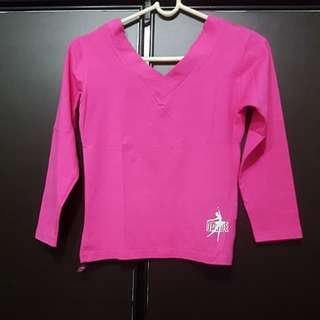 Pre-owned Pink Long Sleeves V neck Top