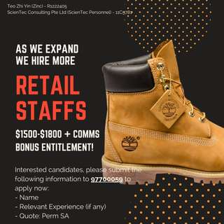 **TIMBERLAND** PERM FT Retail Assistant xMANY ($1500 above)