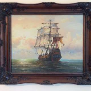 Old oil painting of a war ship by Ambrose