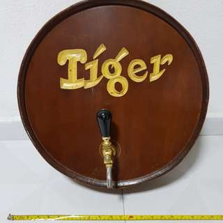 Vintage tiger beer display barrel