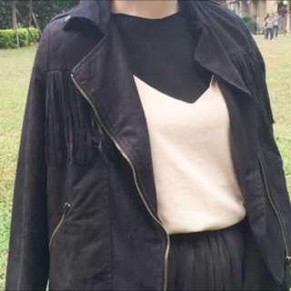麂皮流蘇騎士外套