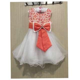 Orange Top Ribbon White Dress