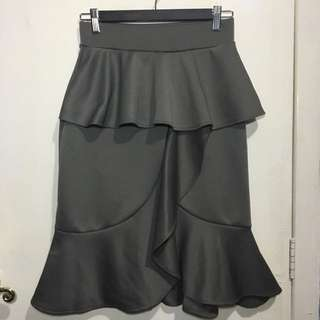 Gray Ruffle Neoprene Skirt