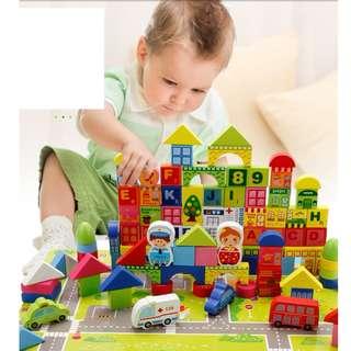 Brand New! Creative 6 in 1 Educational Tool Toy City Blocks - 3D City + Numbers Blocks + Alphabet Blocks + Accelerated Reading Program 100pcs better than lego duplo