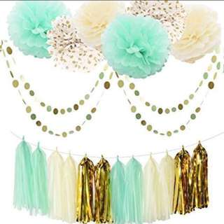 22pc Paper Tassels Pom Poms Garland Party/Birthday Decoration Set - Mint Green / Gold / Cream