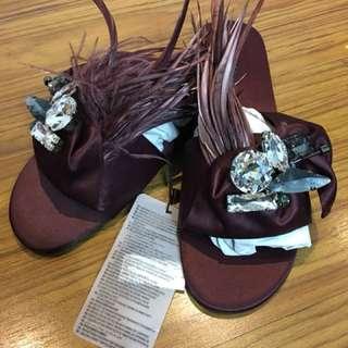 ZARA 水鑽綢緞拖鞋
