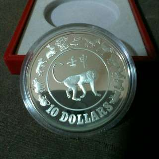 1992 $10 Silver Proof Coin (Monkey)