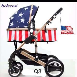 Belecoo German Design European Air Tyres Stroller/Pram
