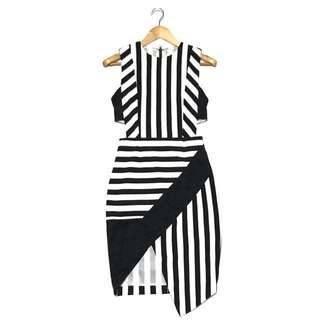 People are People Stripes Asymmetric Bodycon Dress