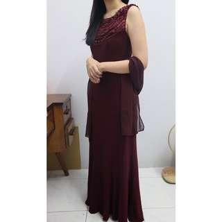 Baju Pesta Maroon / Magenta (Formal Party Gown)