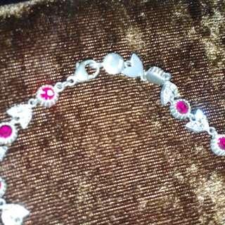 Antique German silver necklace with rhinestones